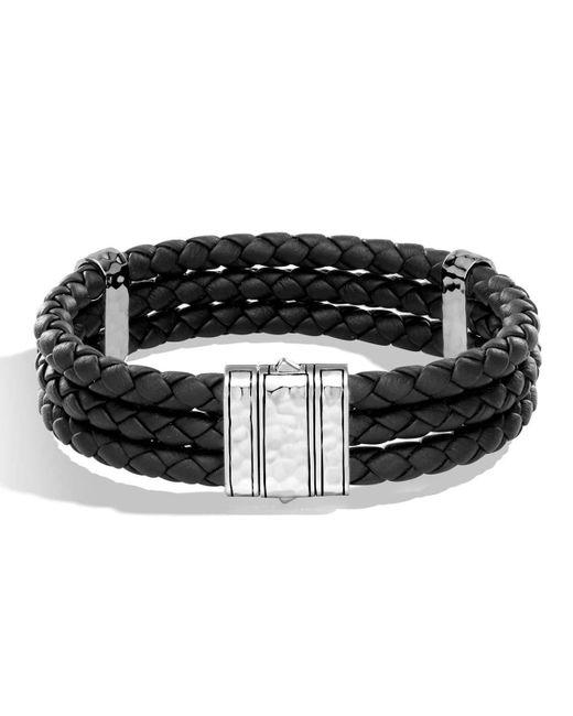 John Hardy | Black Men's Classic Chain Leather Triple Row Bracelet for Men | Lyst