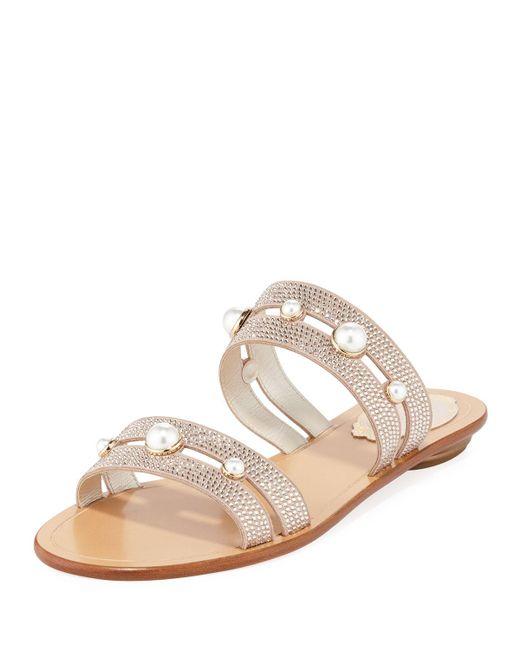 Rene Caovilla - Natural Akiko Flat Embellished Slide Sandals - Lyst