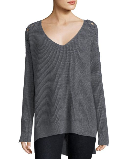 Neiman Marcus - Gray Shaker-stitch Cashmere Pullover W/ Lace-up Shoulders - Lyst