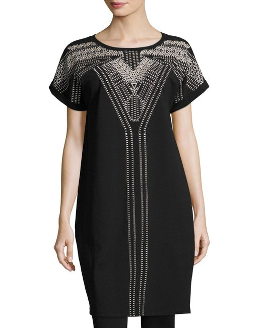 NIC+ZOE - Black Havana Nights Short-sleeve Embroidered Tunic Dress - Lyst