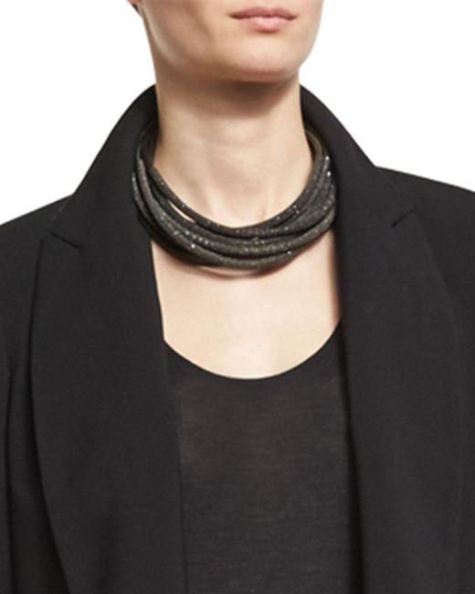 Brunello Cucinelli   Gray Monili & Metallic Leather Coil Necklace   Lyst