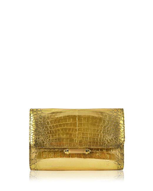 Judith Leiber Couture | Metallic Sloane Crocodile Clutch Bag | Lyst