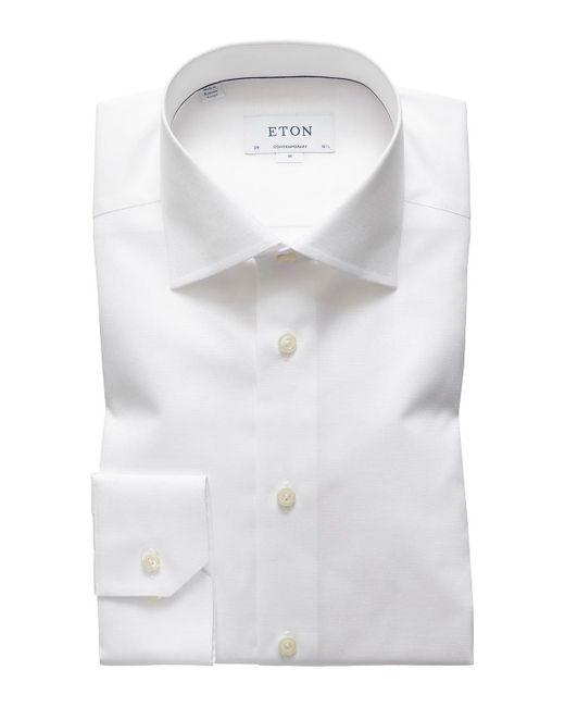 Eton of Sweden Men's Contemporary-fit Cotton/linen Dress Shirt, White for men