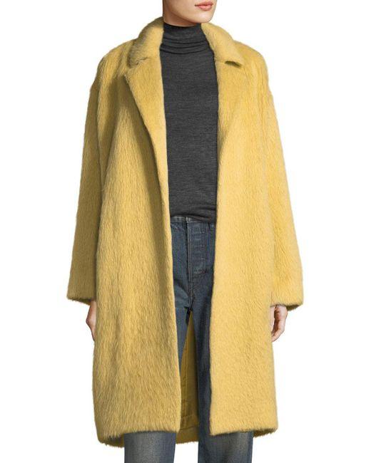 Vince | Yellow Shaggy Alpaca Car Coat | Lyst