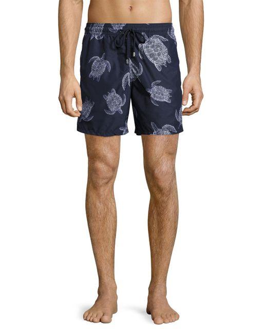 Vilebrequin - Blue Moorea Sharkskin Turtle Swim Trunks for Men - Lyst