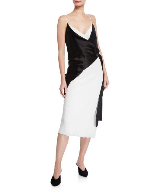 Unttld Black Salome Sleeveless Trompe L'oeil Wrap Dress
