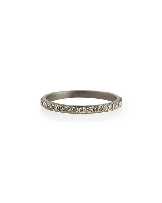Armenta White Champagne Diamond Silver Stackable Ring