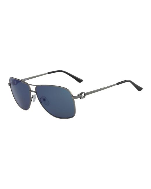 Ferragamo Blue Men's Signature Metal Navigator Sunglasses for men