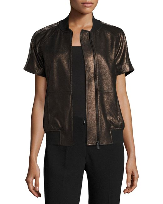 Neiman Marcus - Black Short-sleeve Chain-trimmed Leather Bomber Jacket - Lyst