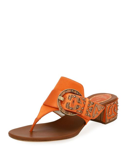 Rene Caovilla - Orange Satin Thong Sandal With Wooden Accents - Lyst
