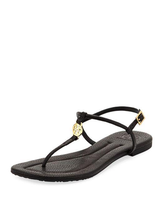 Tory Burch - Black Emmy Flat Crackled Leather Sandal - Lyst