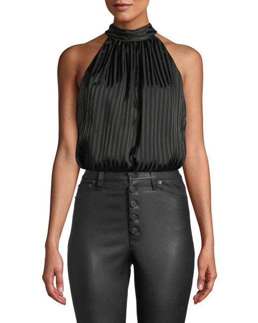 Alice + Olivia - Black Maris Gathered Halter Top - Lyst