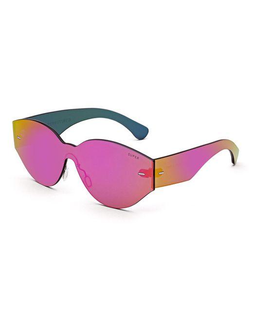 Retrosuperfuture   Pink Tuttolente Drew Mama Iridescent Oval Sunglasses   Lyst