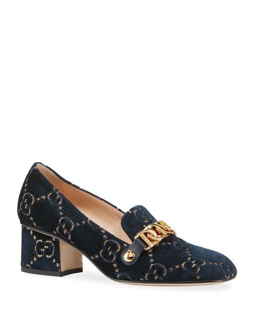 af7831a4be0 Lyst - Gucci Sylvie GG Mid-heel Pumps Velvet Blue in Blue - Save 33%