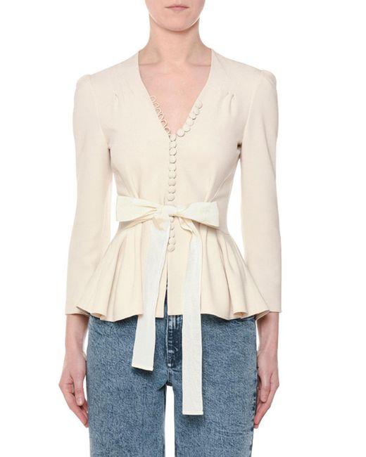 Stella McCartney - White V-neck Tie-waist Stretch-cady Peplum Blouse - Lyst