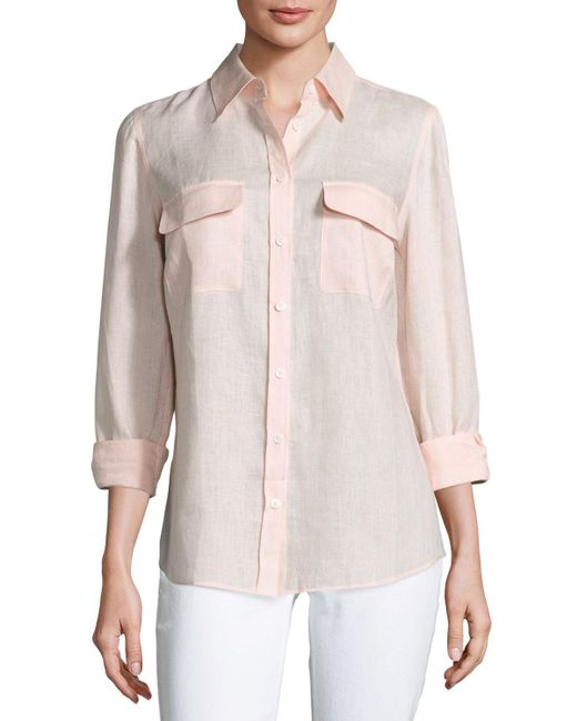Go> By Go Silk Pink Petite Long-sleeve Button-front Linen Top