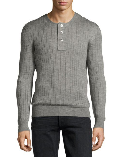 Tom Ford | Gray Lightweight Cashmere-silk Ribbed Henley Sweater for Men | Lyst