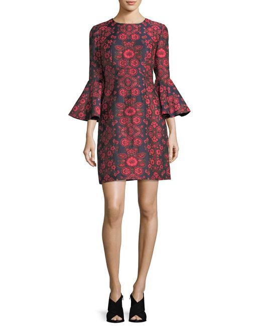 Trina Turk   Red Floral Jacquard Bell-sleeve Cocktail Dress   Lyst