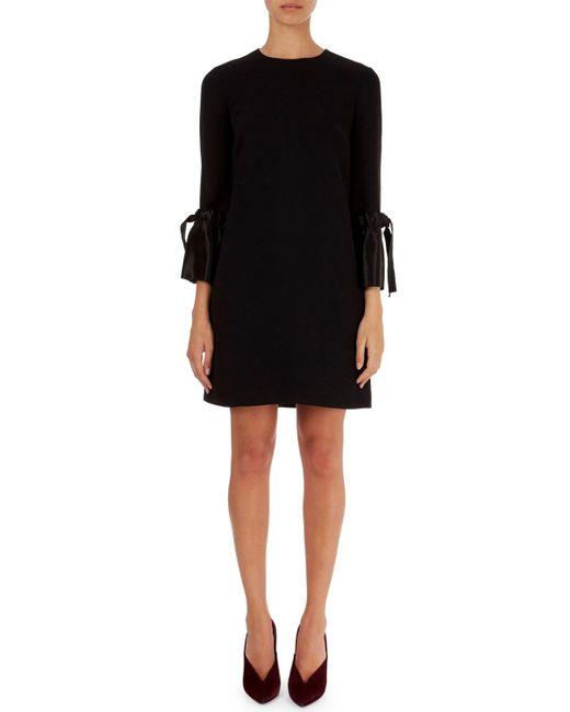 Victoria, Victoria Beckham - Black Chemise Dress W/satin Ruffled Cuffs - Lyst