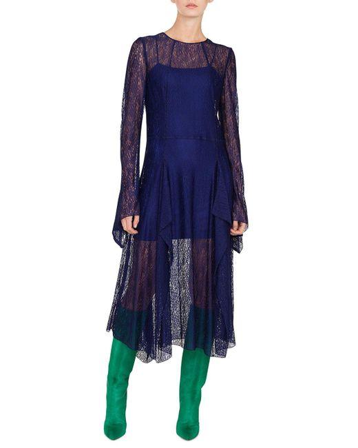 Akris - Blue Long-sleeve Round-neck Draped Lace Dress W/ Panel Slits - Lyst