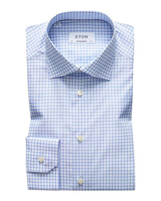 Eton of Sweden Blue Men's Contemporary-fit Grid-check Natural-stretch Dress Shirt for men