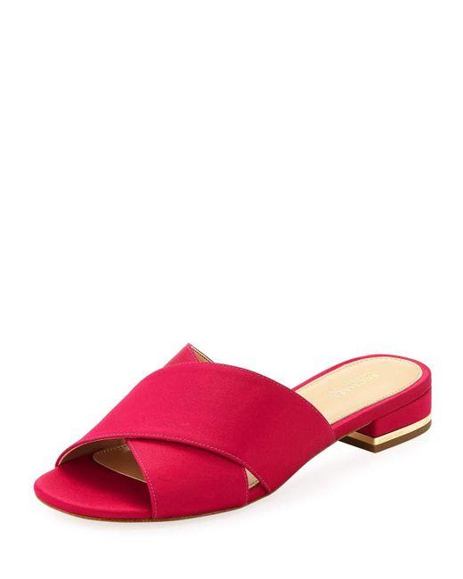 MICHAEL Michael Kors - Pink Shelly Flat Satin Crisscross Slide Sandal - Lyst