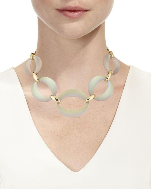 """Alexis Bittar Gray Large Lucite® Link Necklace, 16"""""""