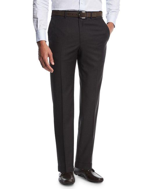 Brioni - Sharkskin Flat-front Trousers Gray for Men - Lyst
