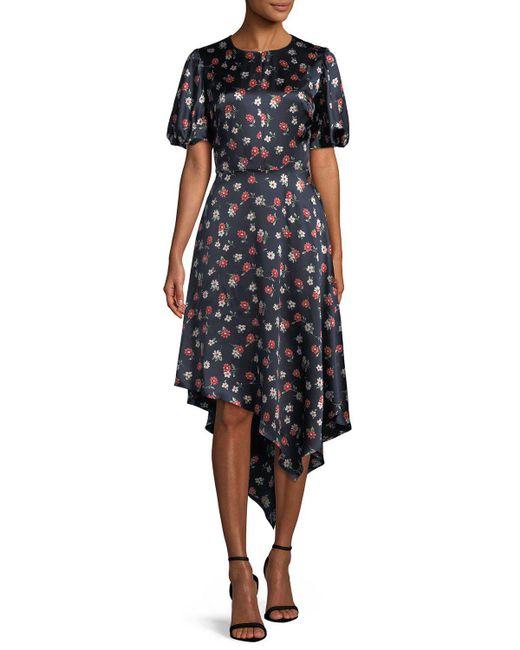 MILLY - Black Cynthia Floral-print Silk-stretch Dress - Lyst