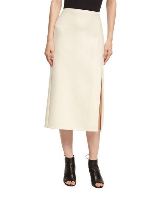 Narciso Rodriguez - White Wool-silk Pencil Skirt With Slit - Lyst