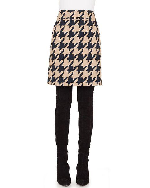 Akris Punto - Black Houndstooth Jacquard A-line Skirt - Lyst