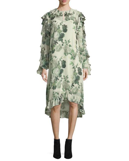Robert Rodriguez | Green Ruffled Low-high Hem Midi Dress | Lyst