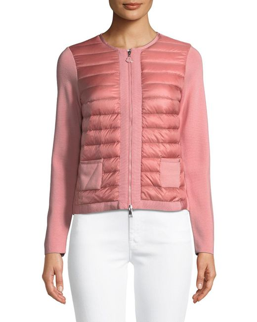 Moncler - Pink Maglia Quilted Zip-front Jacket - Lyst