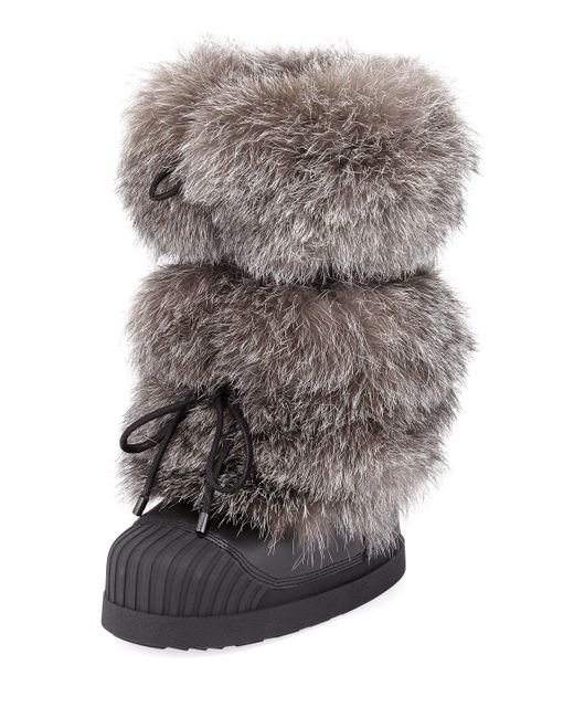 Moncler - Gray Fox Fur Moon Boots - Lyst