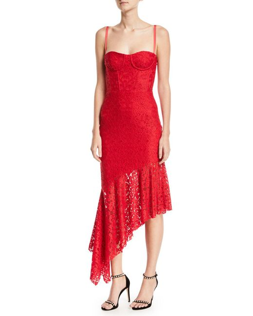 MILLY - Red Angelina Sleeveless Asymmetric Stretch Lace Dress - Lyst