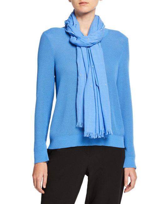 Eileen Fisher Blue Dots Wrap Scarf