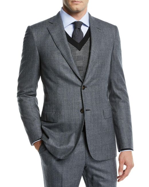 Brioni Gray Men's Prince Of Wales Wool Two-piece Suit for men