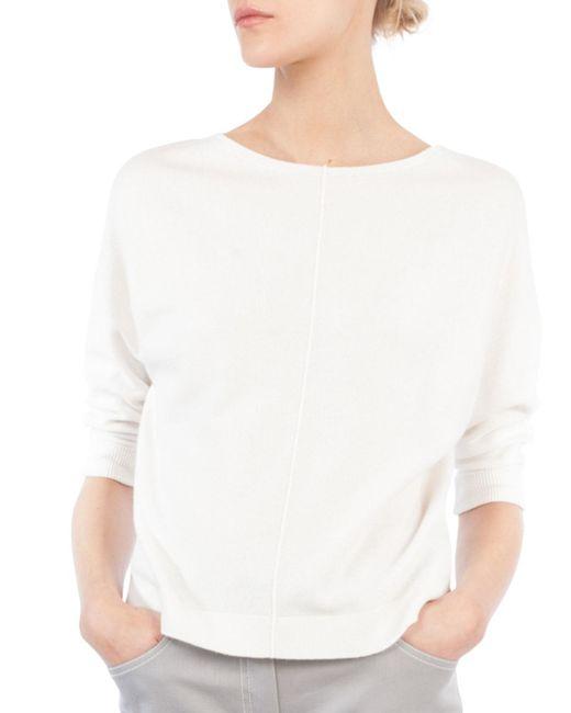 Akris - White Round-neck 3/4 Raglan Sleeve Cashmere Pullover Sweater - Lyst