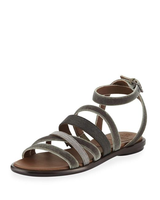 Brunello Cucinelli - Brown Velvet And Monili Multi-strap Sandal - Lyst