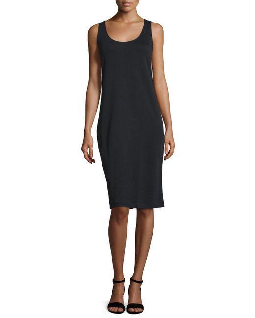 Joan Vass   Black Sleeveless Luxe Pima Cotton Tank Dress   Lyst