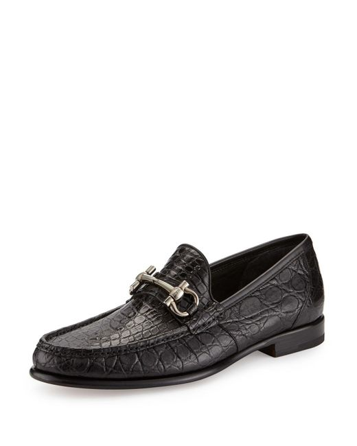 Ferragamo | Black Mason 2 Crocodile Gancini Loafer for Men | Lyst