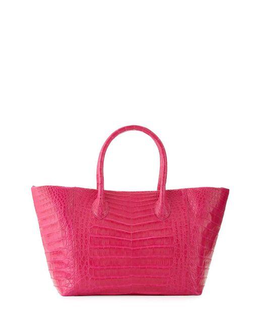 Nancy Gonzalez - Pink Crocodile Small Convertible Tote Bag - Lyst