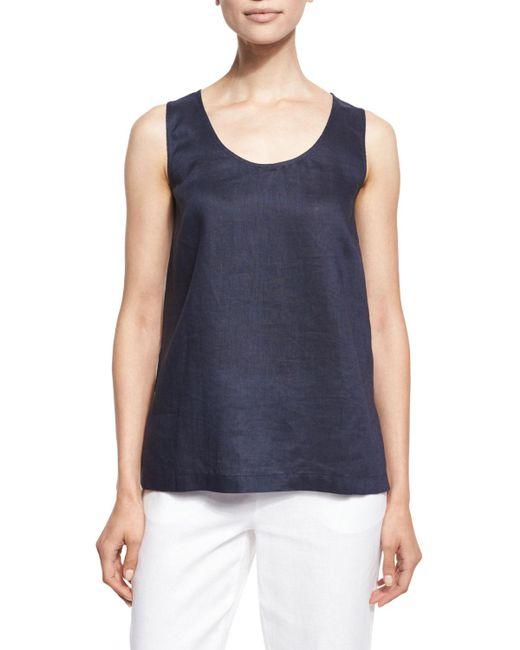 Go> By Go Silk - Blue Linen Scoop-neck Tank - Lyst