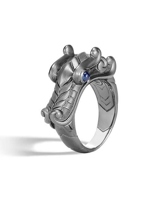 John Hardy - Black Men's Legends Naga Dragon Silver Ring W/ Sapphires for Men - Lyst