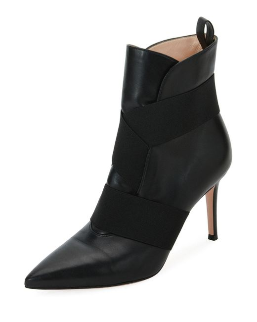 Gianvito Rossi - Black Napa Booties With Stretch Straps - Lyst