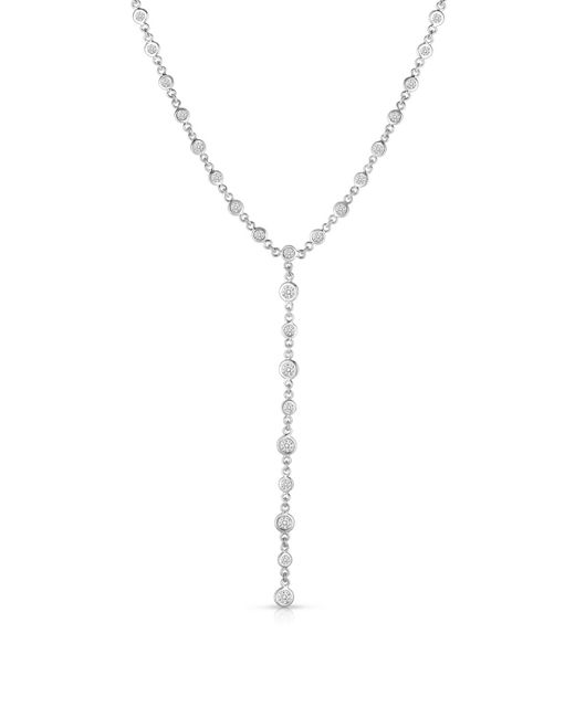 Roberto Coin Metallic 18k White Gold Diamond Y-drop Necklace