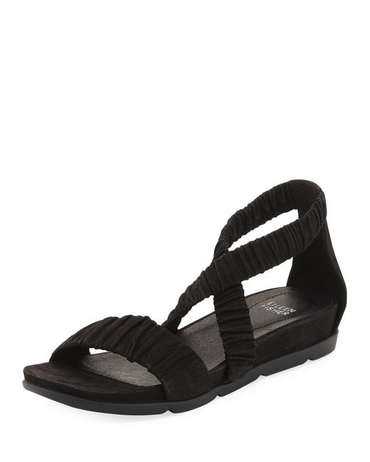 Eileen Fisher | Black Dylan Tumbled Scrunched Sandal | Lyst