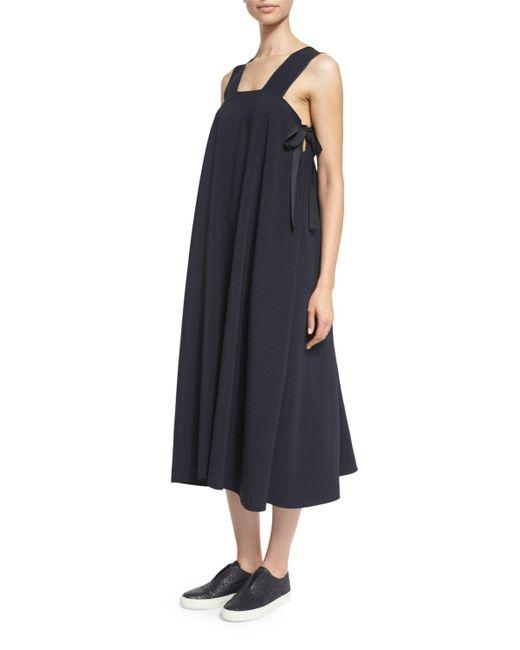Helmut Lang   White Sleeveless Side-tie Voile Midi Dress   Lyst