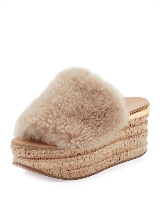 Chloé - Multicolor Camille Shearling Fur Platform Slide Sandals - Lyst