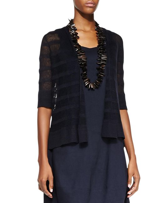 Eileen Fisher | Blue Linen Striped Cardigan | Lyst